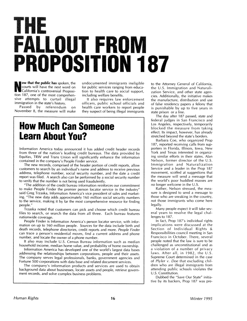 The Fallout from Proposition 187 22 Human Rights 1995