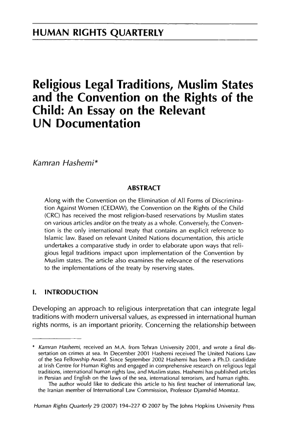 Religious Legal Traditions Muslim States And The Convention On The  Handle Is Heinjournalshurq And Id Is  Raw Text Is Human Analysis Essay Thesis Example also Sample Essays High School Students  Thesis Essay Examples