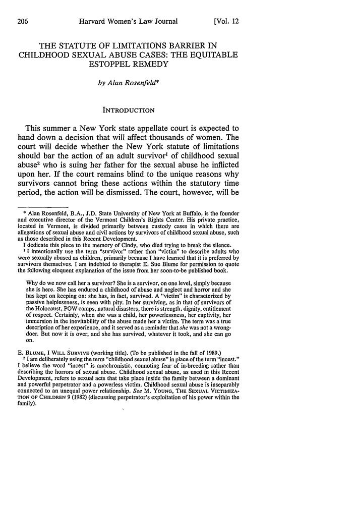 12 Harvard Women's Law Journal 1989 Statute of Limitations Barrier ...