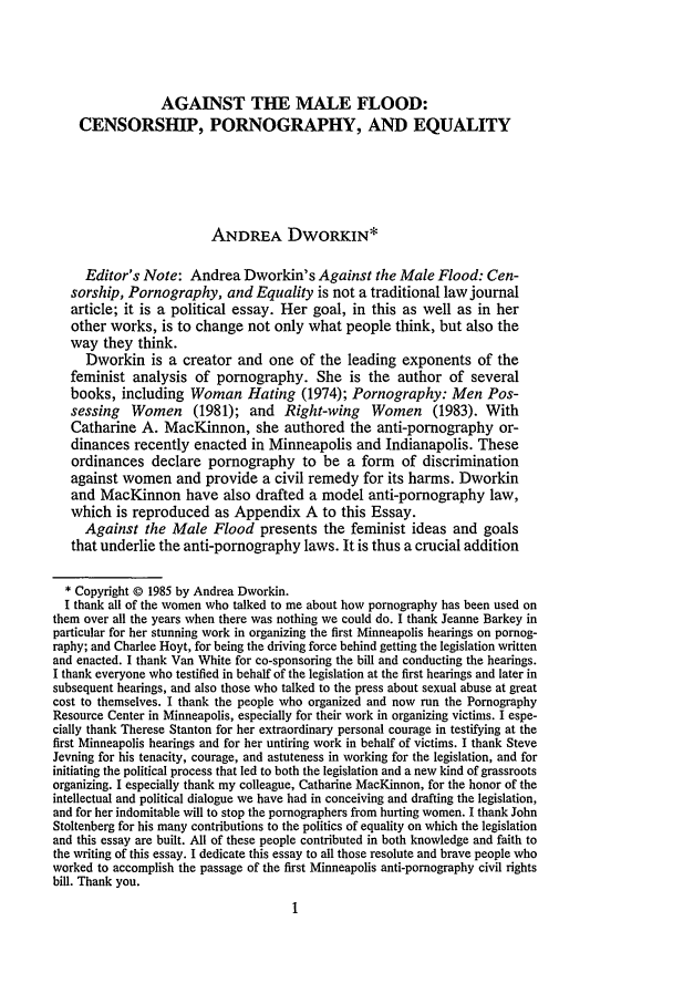 Essays on pornography
