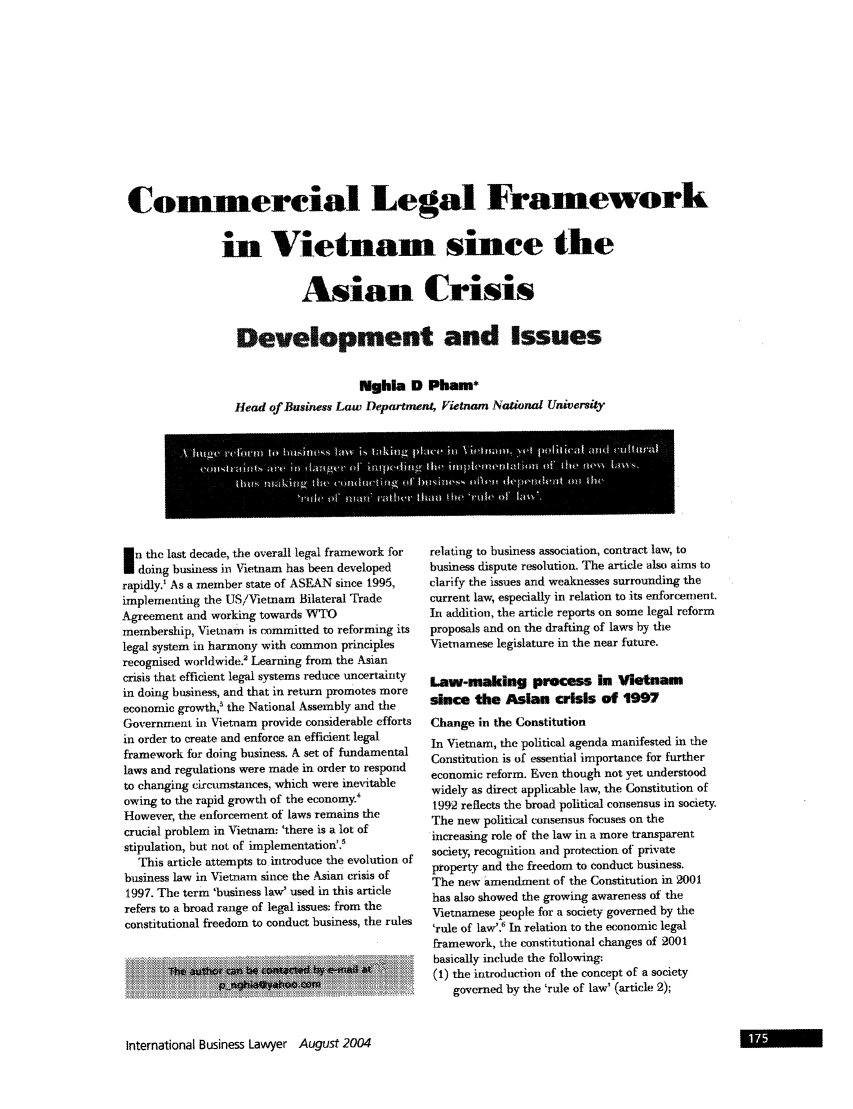 handle is hein.journals/ibl32 and id is 177 raw text is: Comerciai Legal Framework