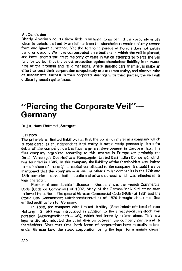 Piercing the Corporate Veil - Germany Piercing the ...