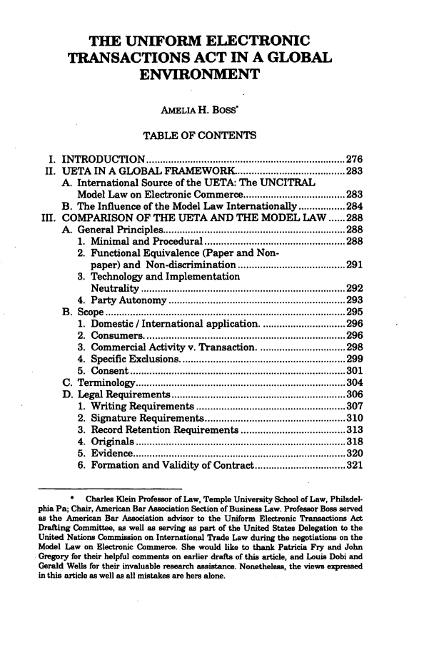 The Uniform Electronic Transactions Act in a Global ...
