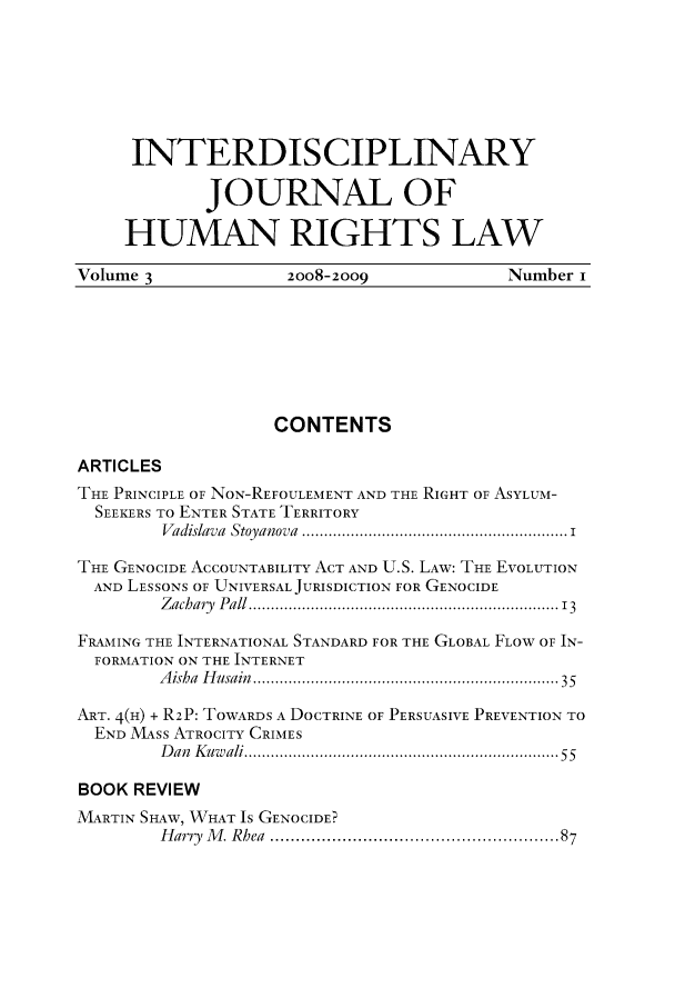 handle is hein.journals/ijhrl3 and id is 1 raw text is: INTERDISCIPLINARY