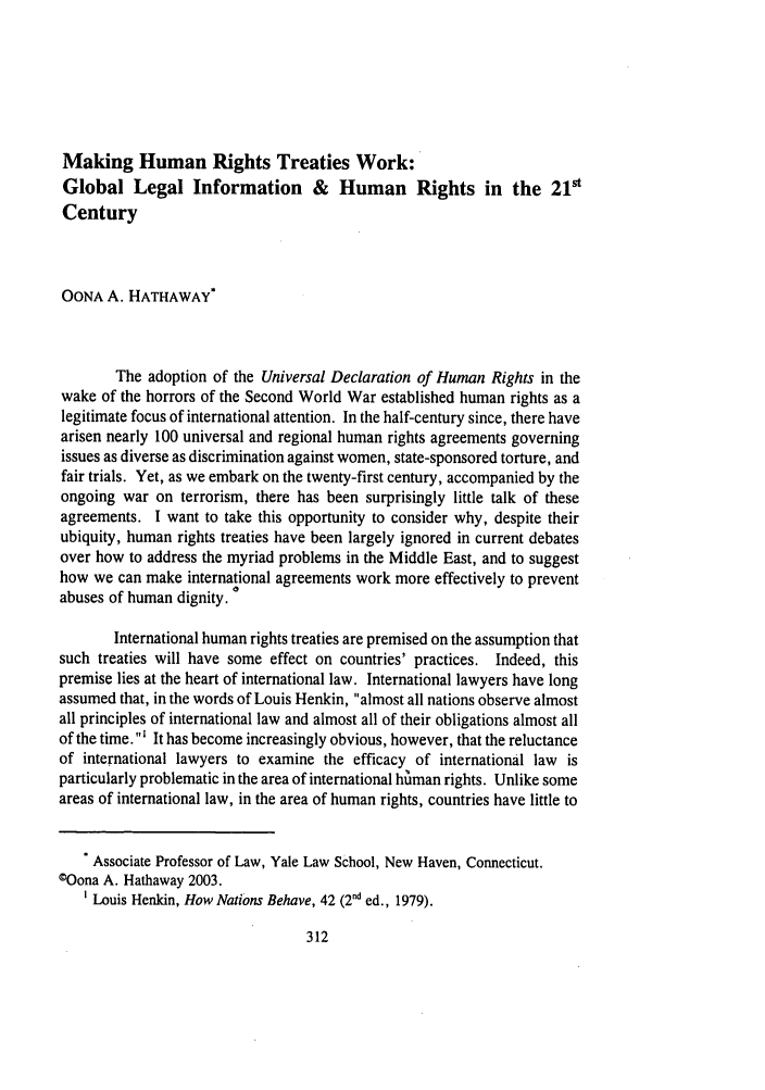 handle is hein.journals/ijli31 and id is 374 raw text is: Making Human Rights Treaties Work: