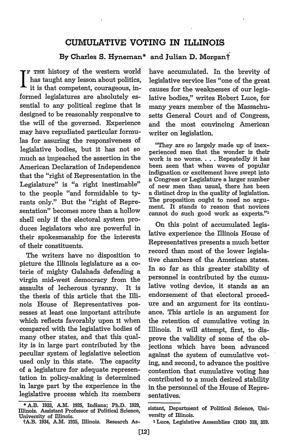 handle is hein.journals/illlr32 and id is 50 raw text is: CUMULATIVE VOTING IN ILLINOIS