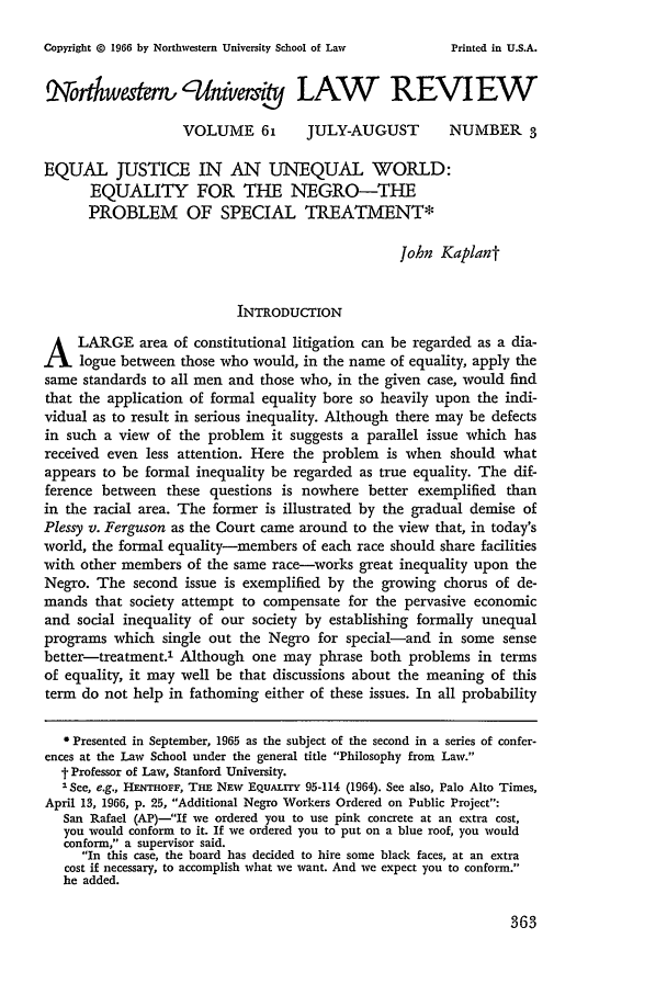 handle is hein.journals/illlr61 and id is 375 raw text is: Copyright G 1966 by Northwestern University School of Law
