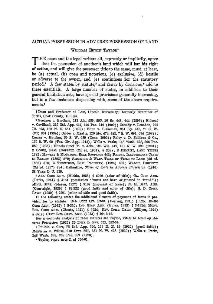 25 Iowa Law Review 1939-1940 Actual Possession in Adverse ...