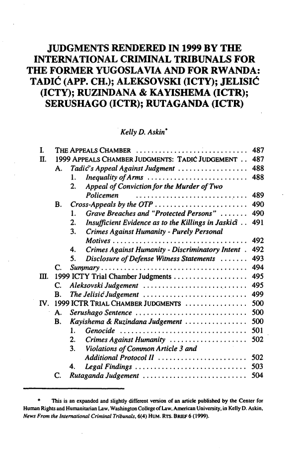 handle is hein.journals/ilsaic6 and id is 495 raw text is: JUDGMENTS RENDERED IN 1999 BY THE