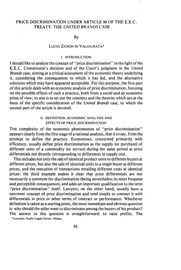 Price Discrimination under Article 86 of the E E C  Treaty: The
