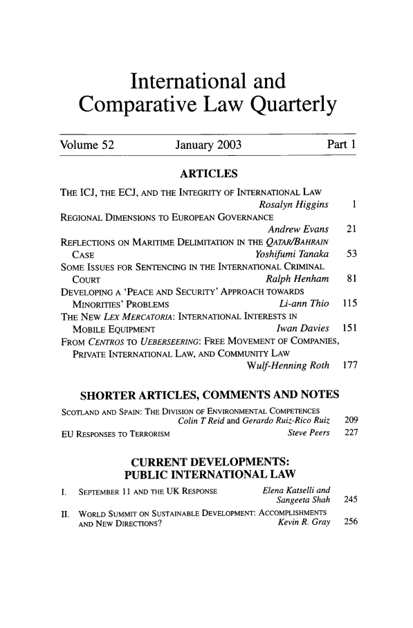 handle is hein.journals/incolq52 and id is 1 raw text is: International and