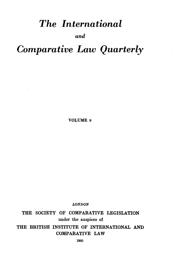 handle is hein.journals/incolq9 and id is 1 raw text is: The International