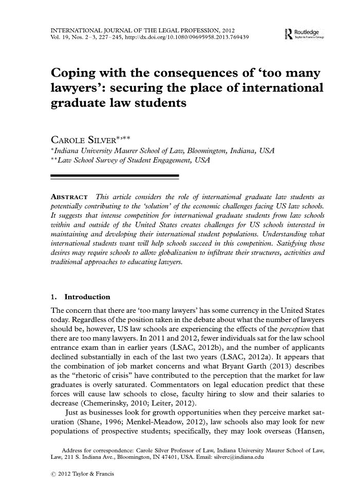 handle is hein.journals/injlepro19 and id is 227 raw text is: INTERNATIONAL JOURNAL OF THE LEGAL PROFESSION, 2012                    Routledge