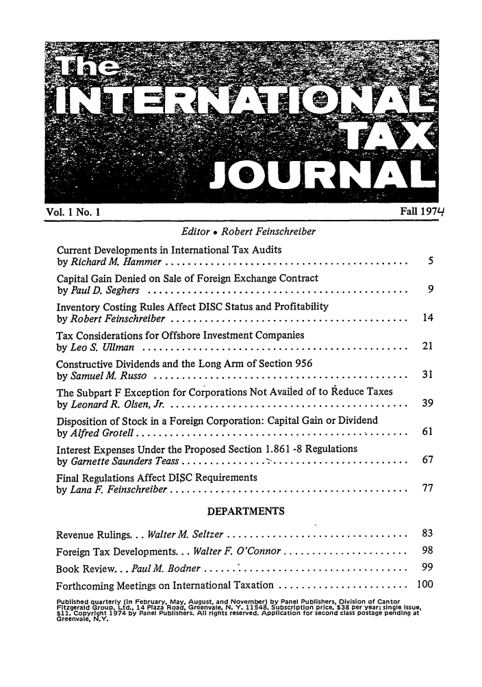 handle is hein.journals/intaxjo1 and id is 1 raw text is: Vol. 1 No. 1                                                  Fall 197q