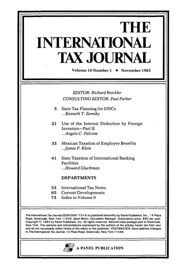 handle is hein.journals/intaxjo10 and id is 1 raw text is: EDITOR: Richard Reichler