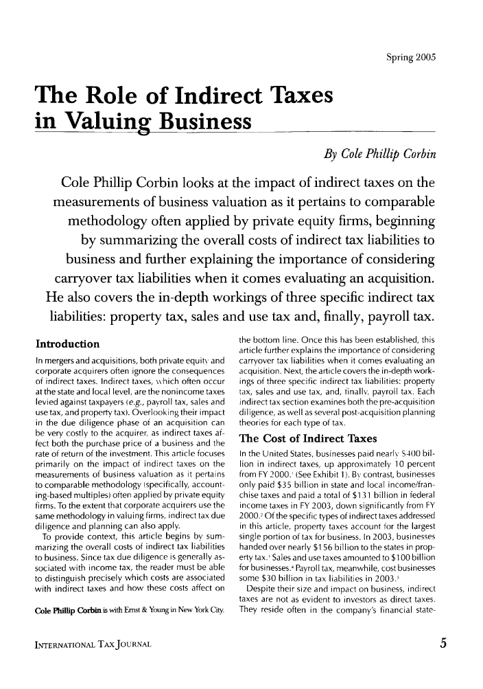 The Role Of Indirect Taxes In Valuing Business 31