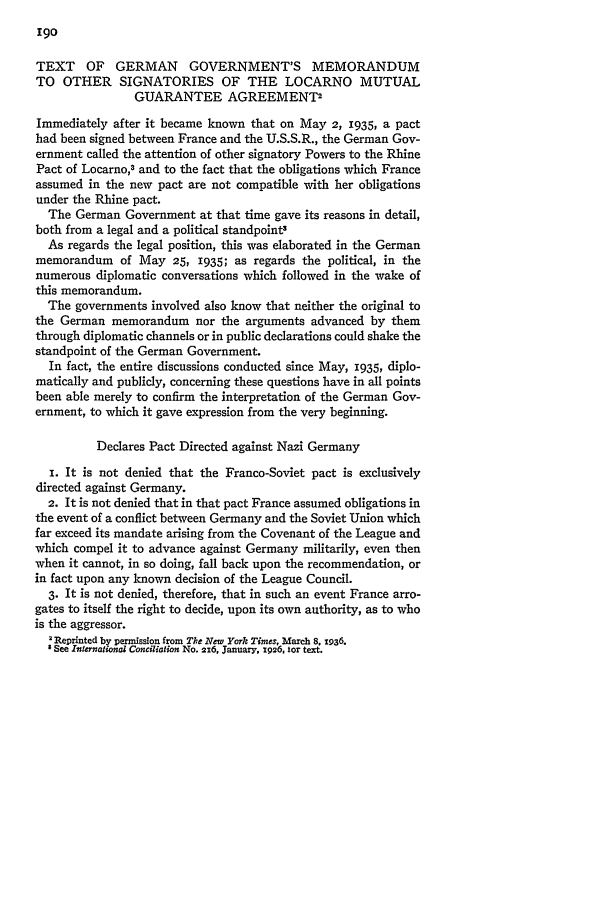 Text Of German Governments Memorandum To Other Signatories Of The