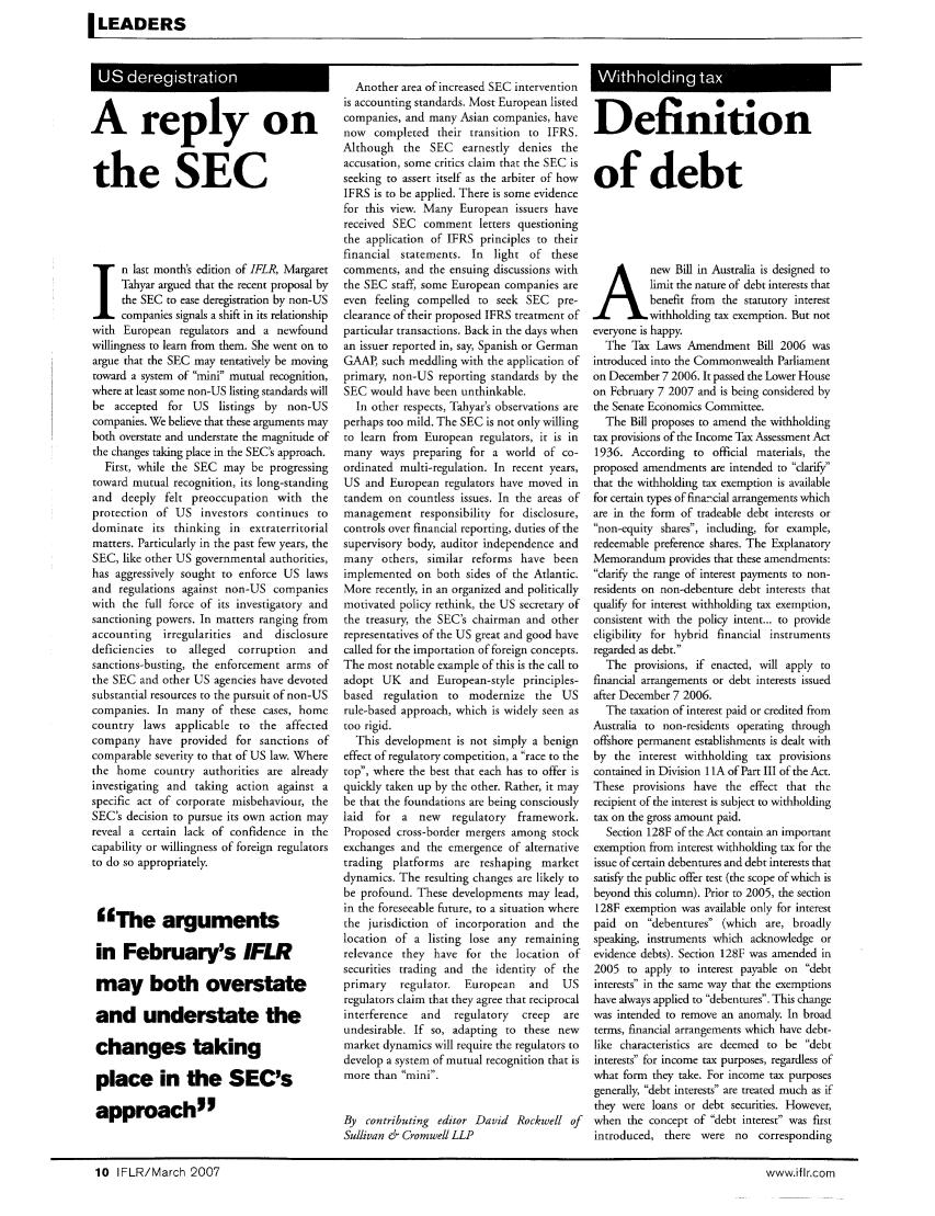 Definition of Debt Note 26 International Financial Law