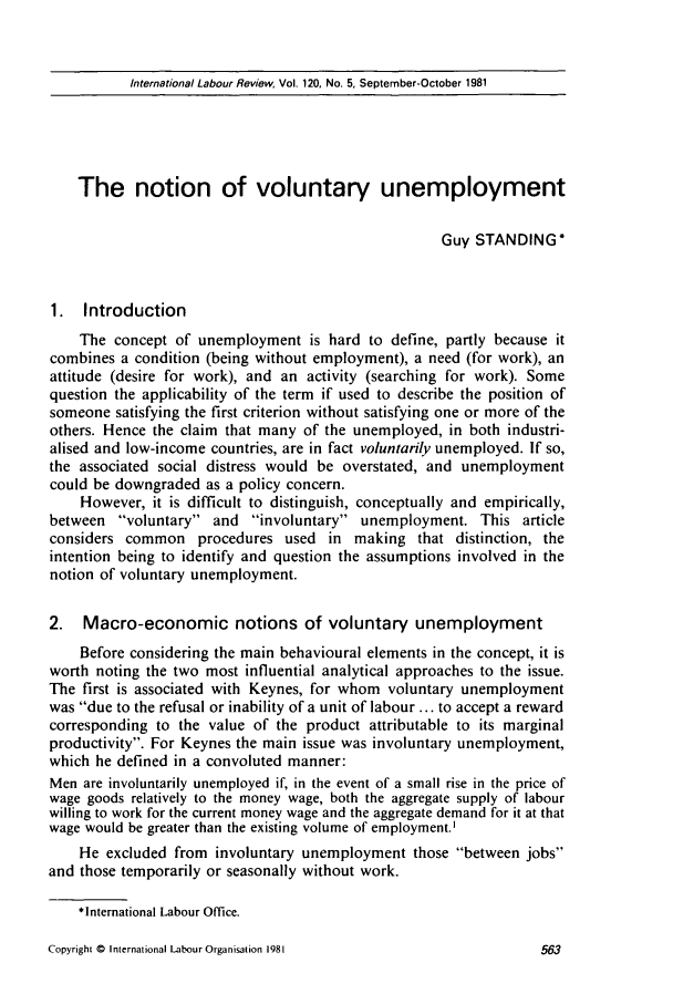 handle is hein.journals/intlr120 and id is 577 raw text is: International Labour Review, Vol. 120, No. 5, September-October 1981