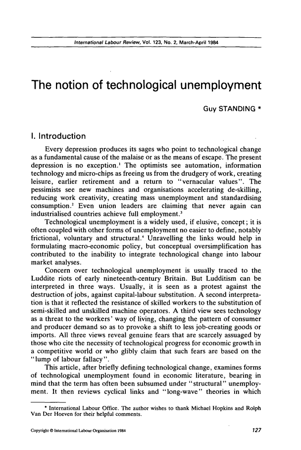 handle is hein.journals/intlr123 and id is 141 raw text is: International Labour Review, Vol. 123, No. 2, March-April 1984