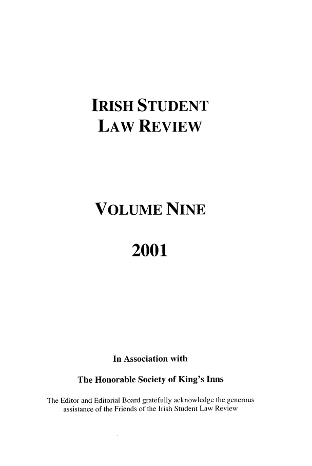 handle is hein.journals/irishslr9 and id is 1 raw text is: IRISH STUDENT