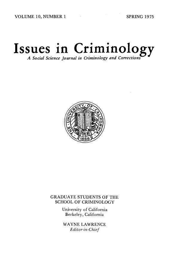 handle is hein.journals/iscrim10 and id is 1 raw text is: VOLUME 10, NUMBER 1
