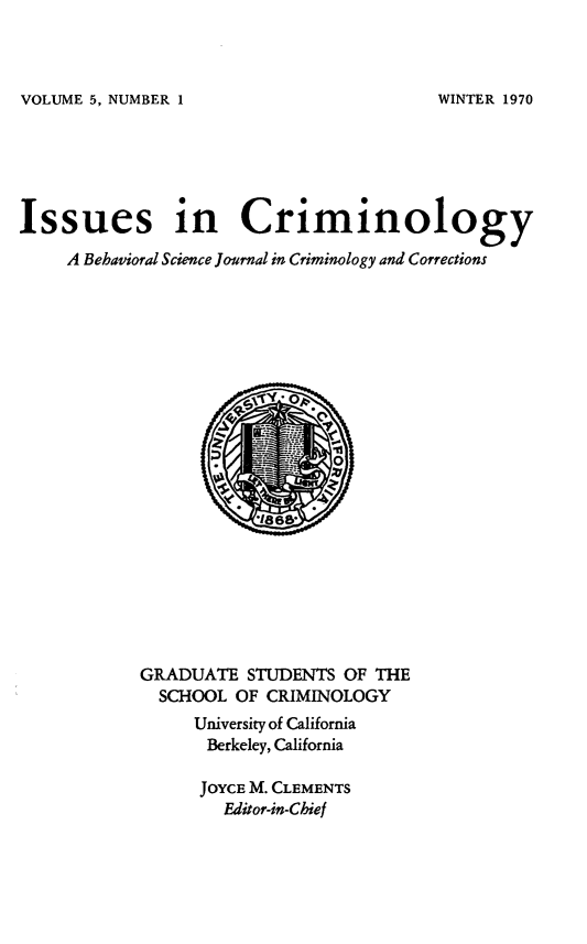 handle is hein.journals/iscrim5 and id is 1 raw text is: VOLUME 5, NUMBER 1