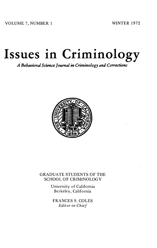 handle is hein.journals/iscrim7 and id is 1 raw text is: VOLUME 7, NUMBER 1