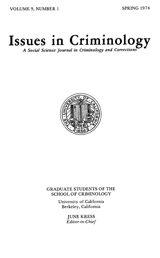 handle is hein.journals/iscrim9 and id is 1 raw text is: VOLUME 9, NUMBER 1
