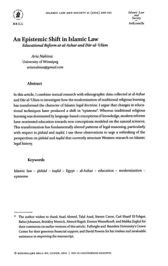handle is hein.journals/islamls21 and id is 217 raw text is: ISLAMIC LAW AND SOCIETY 21 (2014) 209-251      Islamic Law