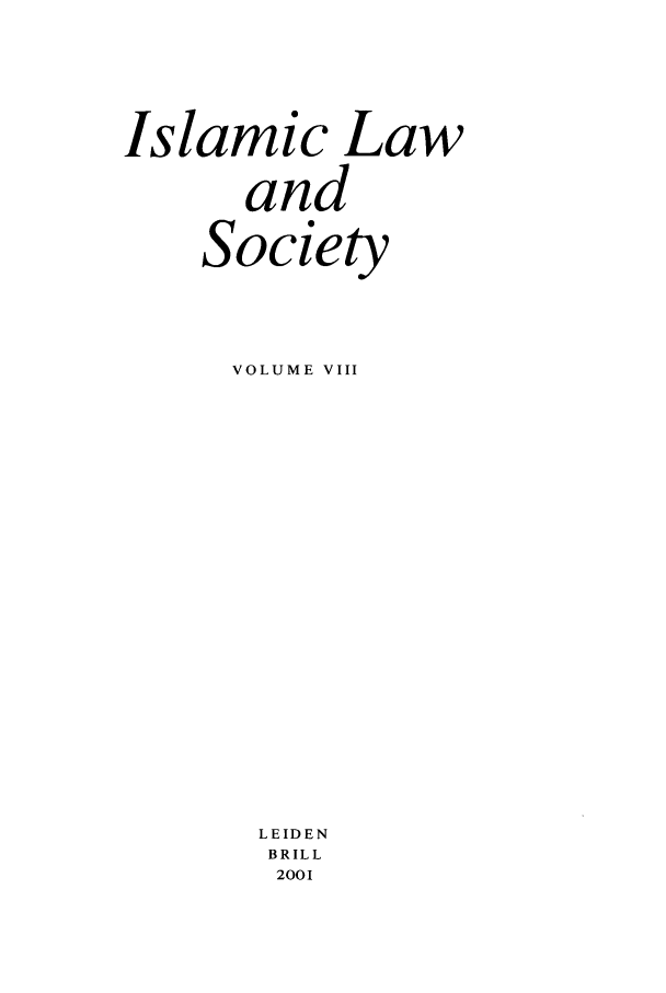 handle is hein.journals/islamls8 and id is 1 raw text is: Islamic Law