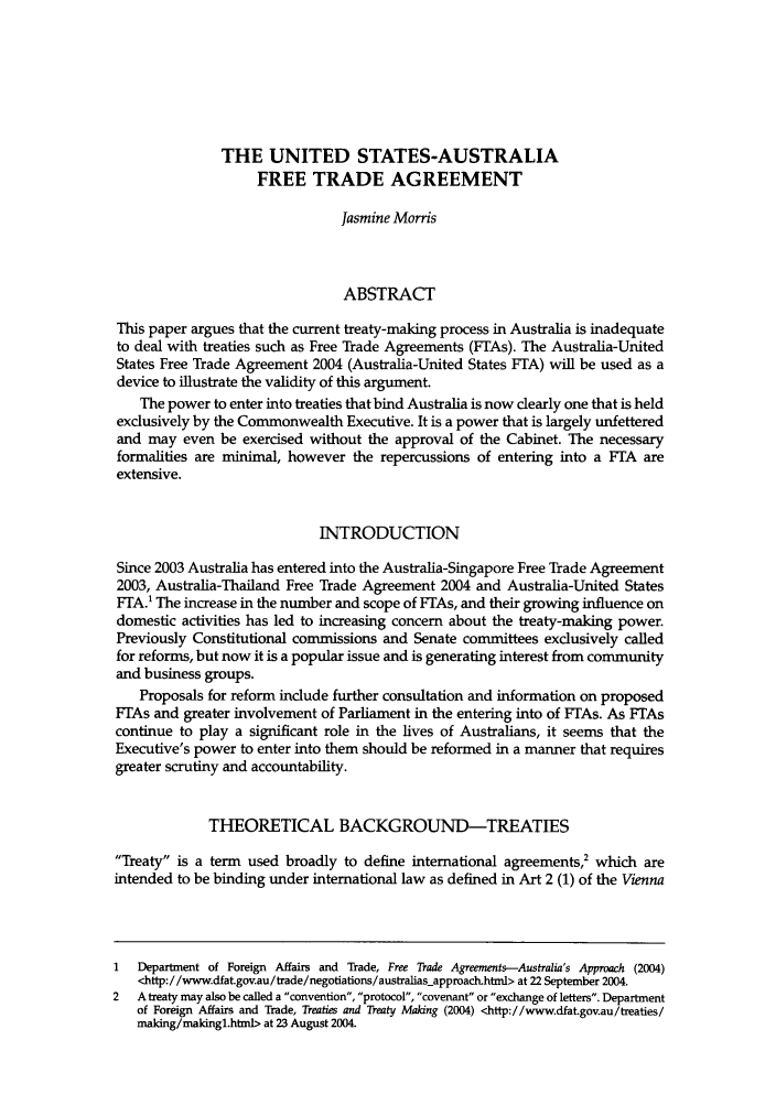 The United States Australia Free Trade Agreement 10 International