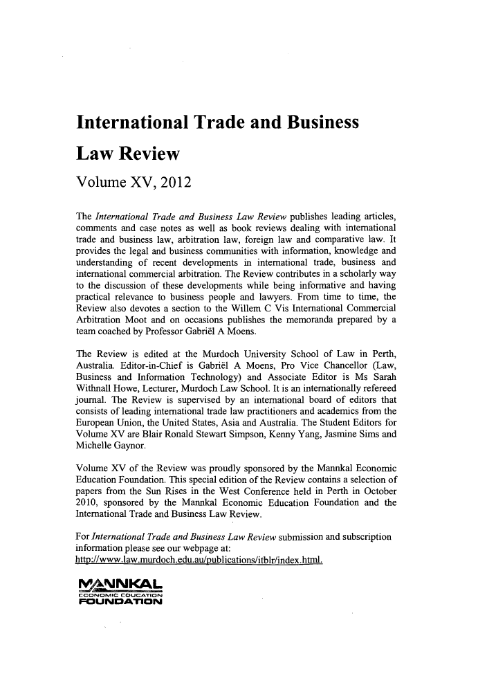 handle is hein.journals/itbla15 and id is 1 raw text is: International Trade and Business