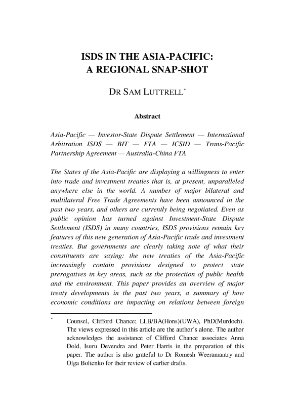 Isds In The Asia Pacific A Regional Snap Shot 19 International
