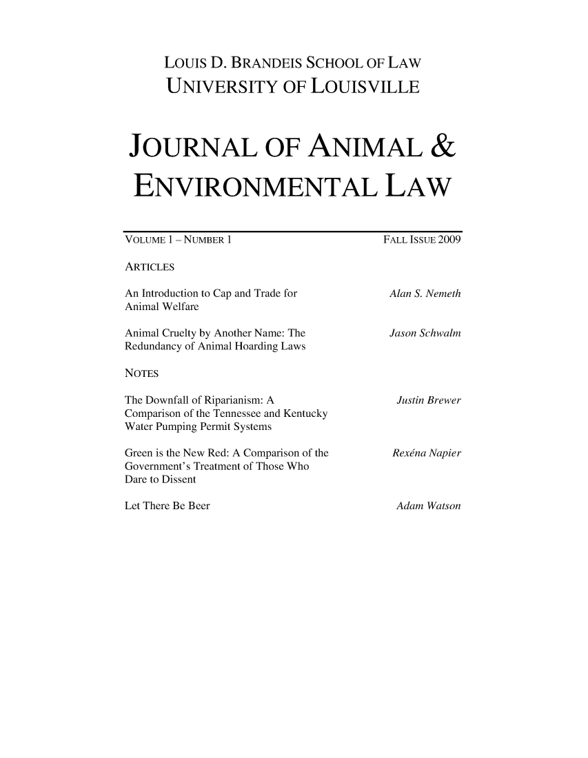 handle is hein.journals/jael1 and id is 1 raw text is: Louis D. BRANDEIS SCHOOL OF LAW
