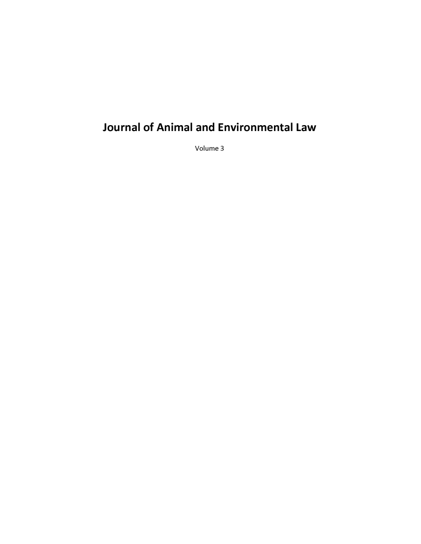 handle is hein.journals/jael3 and id is 1 raw text is: Journal of Animal and Environmental Law