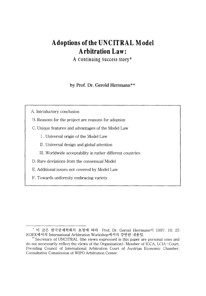 handle is hein.journals/jarbstu7 and id is 1 raw text is: Adoptions of the UNCITRAL Model