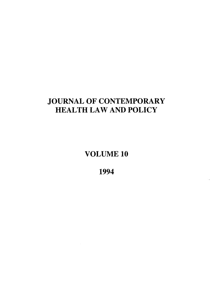 handle is hein.journals/jchlp10 and id is 1 raw text is: JOURNAL OF CONTEMPORARY