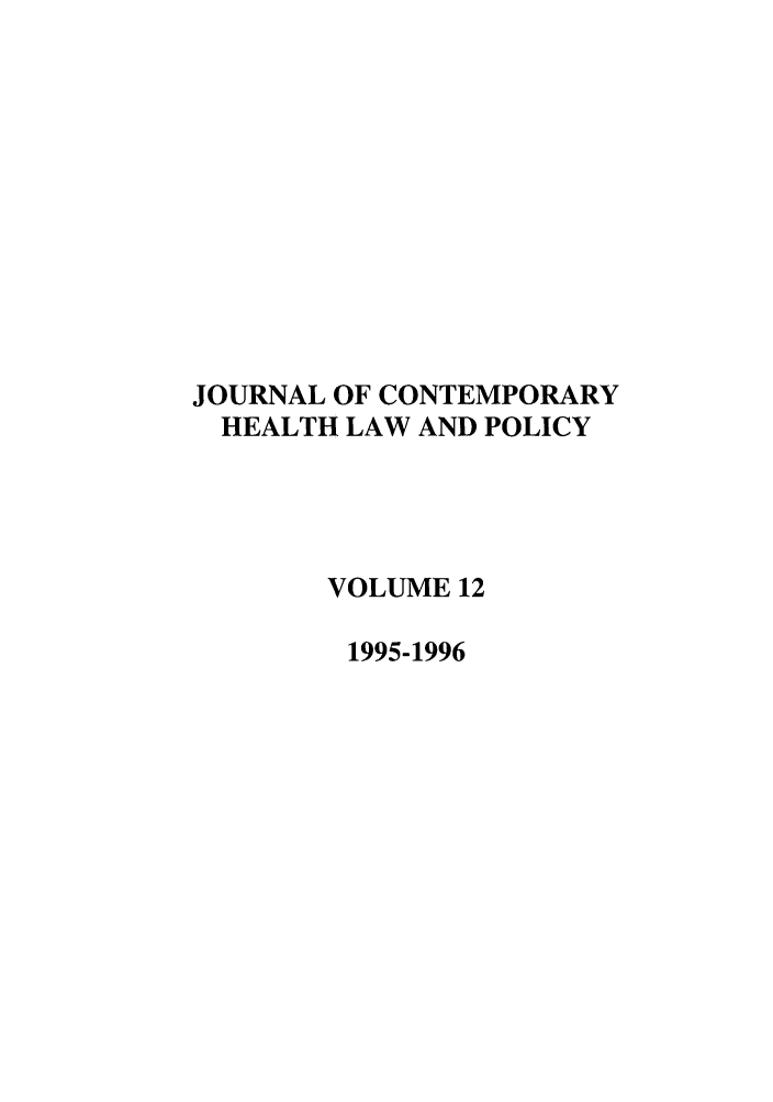 handle is hein.journals/jchlp12 and id is 1 raw text is: JOURNAL OF CONTEMPORARY