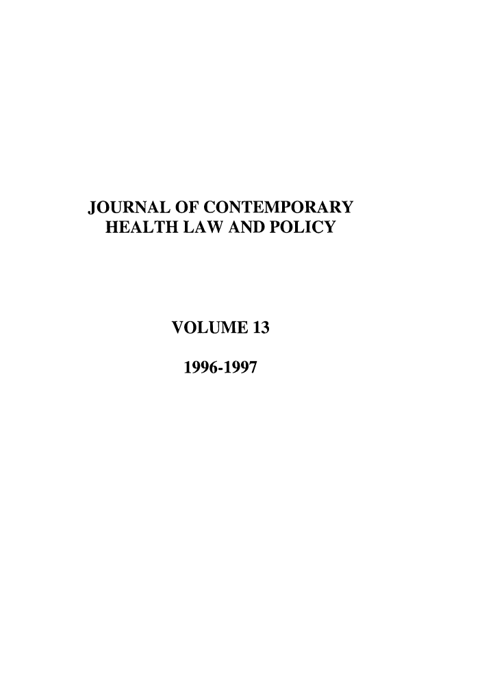 handle is hein.journals/jchlp13 and id is 1 raw text is: JOURNAL OF CONTEMPORARY