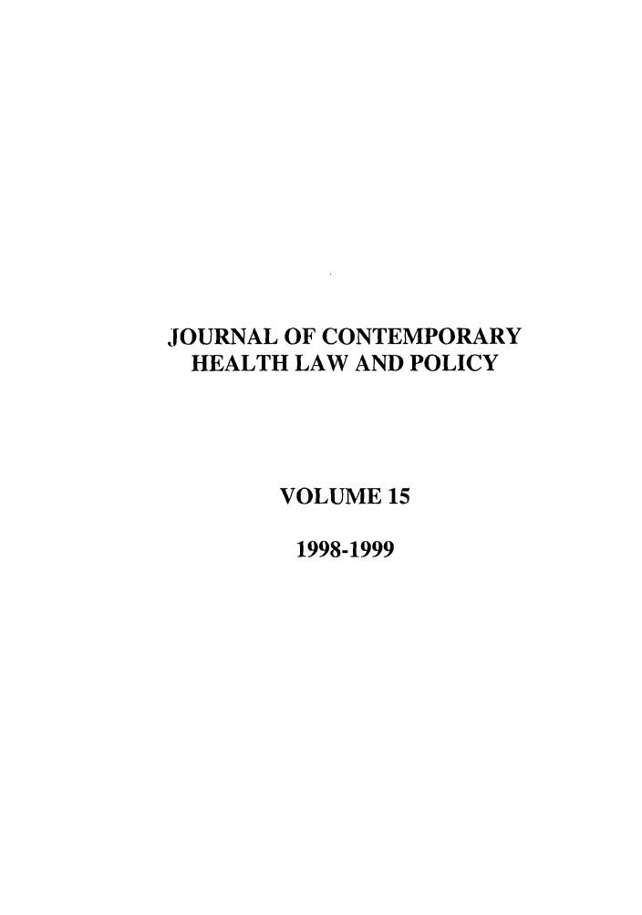 handle is hein.journals/jchlp15 and id is 1 raw text is: JOURNAL OF CONTEMPORARY