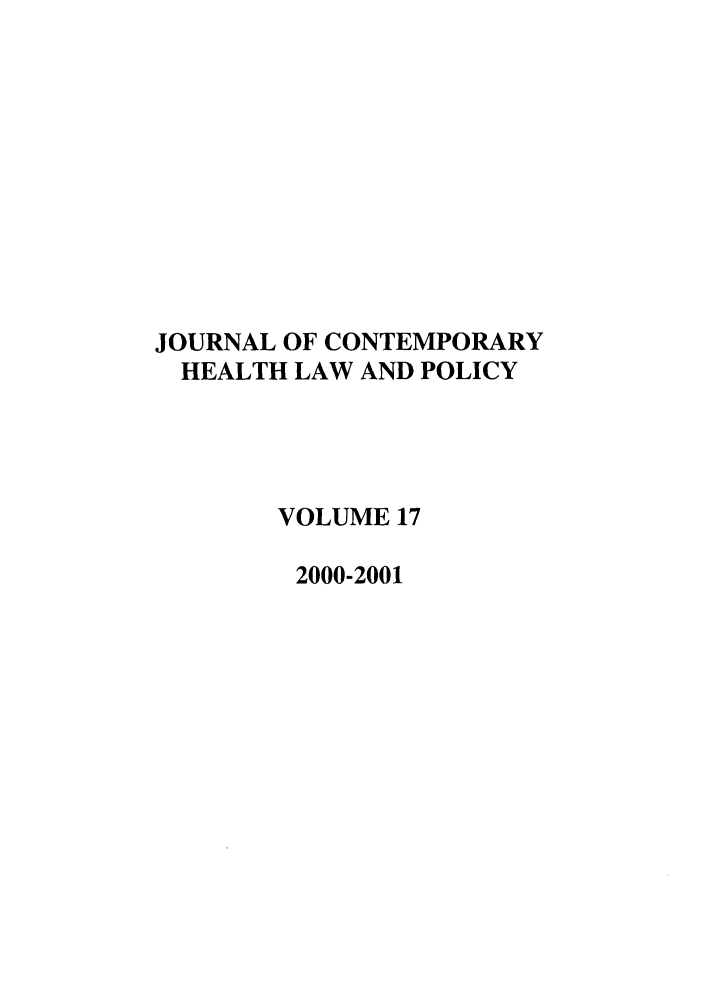 handle is hein.journals/jchlp17 and id is 1 raw text is: JOURNAL OF CONTEMPORARY