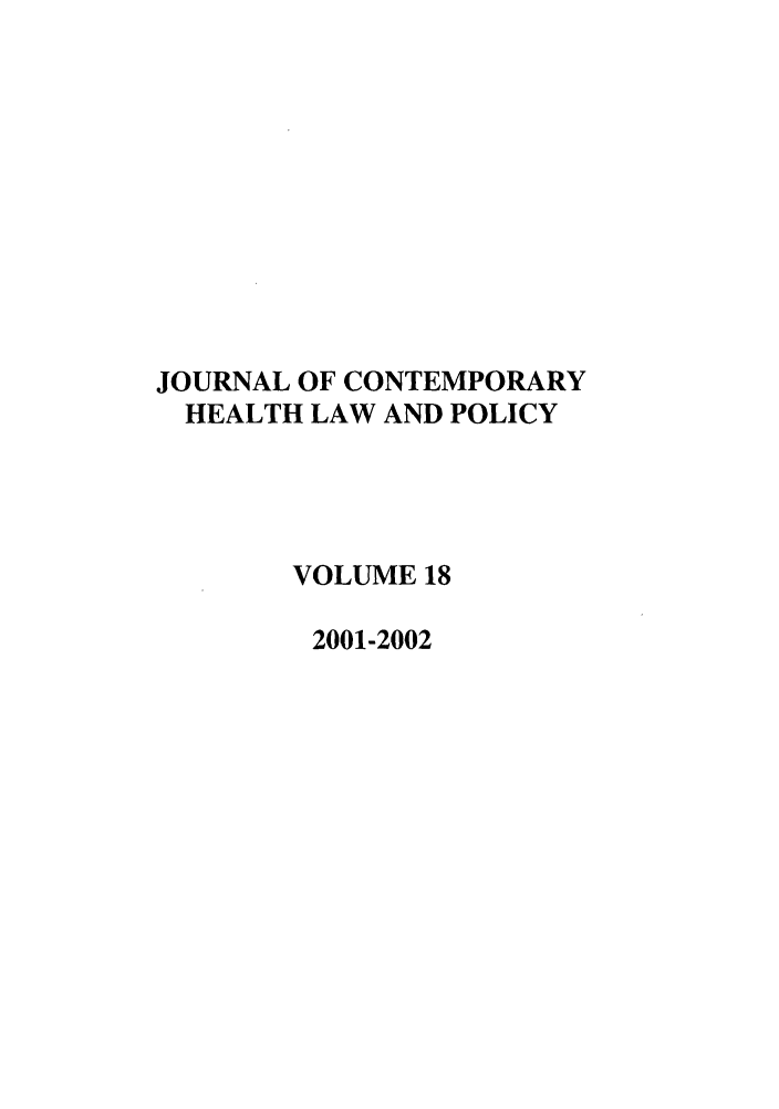 handle is hein.journals/jchlp18 and id is 1 raw text is: JOURNAL OF CONTEMPORARY