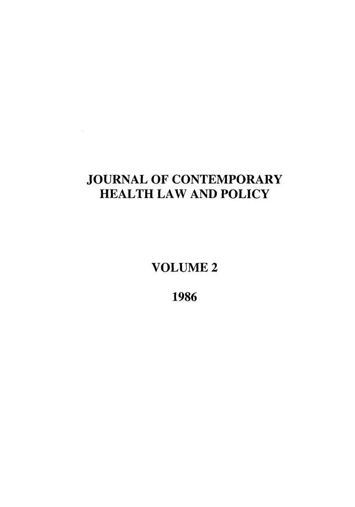 handle is hein.journals/jchlp2 and id is 1 raw text is: JOURNAL OF CONTEMPORARY
