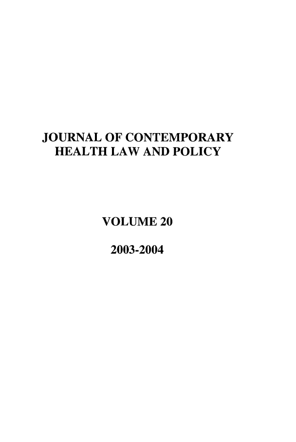 handle is hein.journals/jchlp20 and id is 1 raw text is: JOURNAL OF CONTEMPORARY