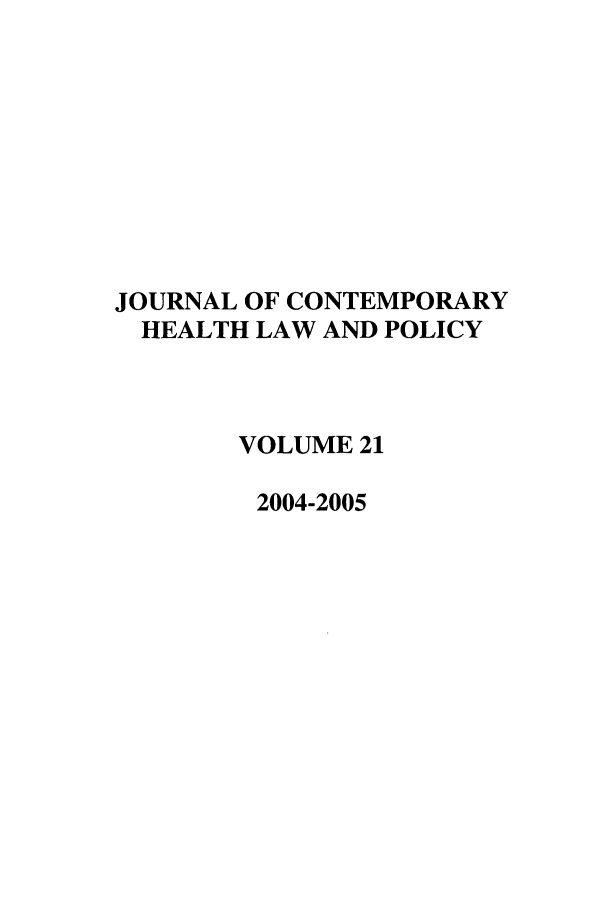 handle is hein.journals/jchlp21 and id is 1 raw text is: JOURNAL OF CONTEMPORARY