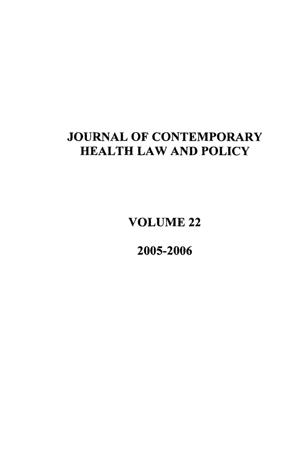 handle is hein.journals/jchlp22 and id is 1 raw text is: JOURNAL OF CONTEMPORARY