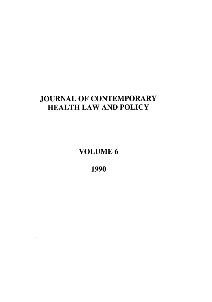 handle is hein.journals/jchlp6 and id is 1 raw text is: JOURNAL OF CONTEMPORARY