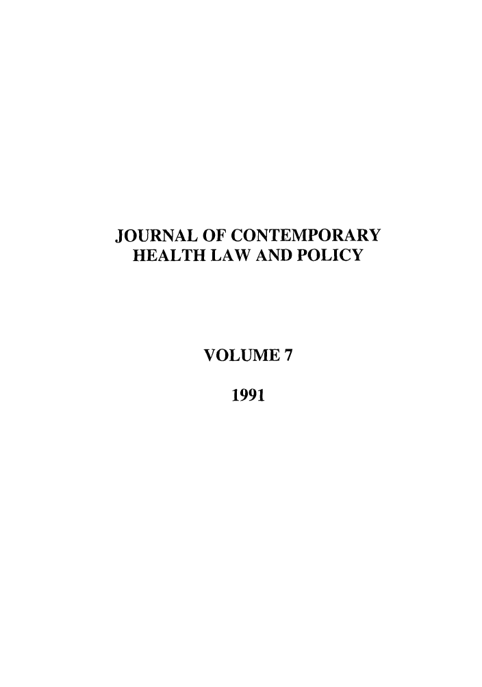 handle is hein.journals/jchlp7 and id is 1 raw text is: JOURNAL OF CONTEMPORARY
