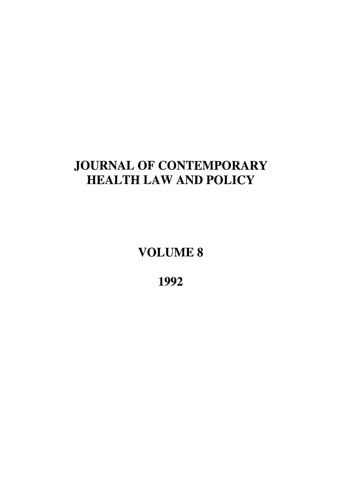 handle is hein.journals/jchlp8 and id is 1 raw text is: JOURNAL OF CONTEMPORARY